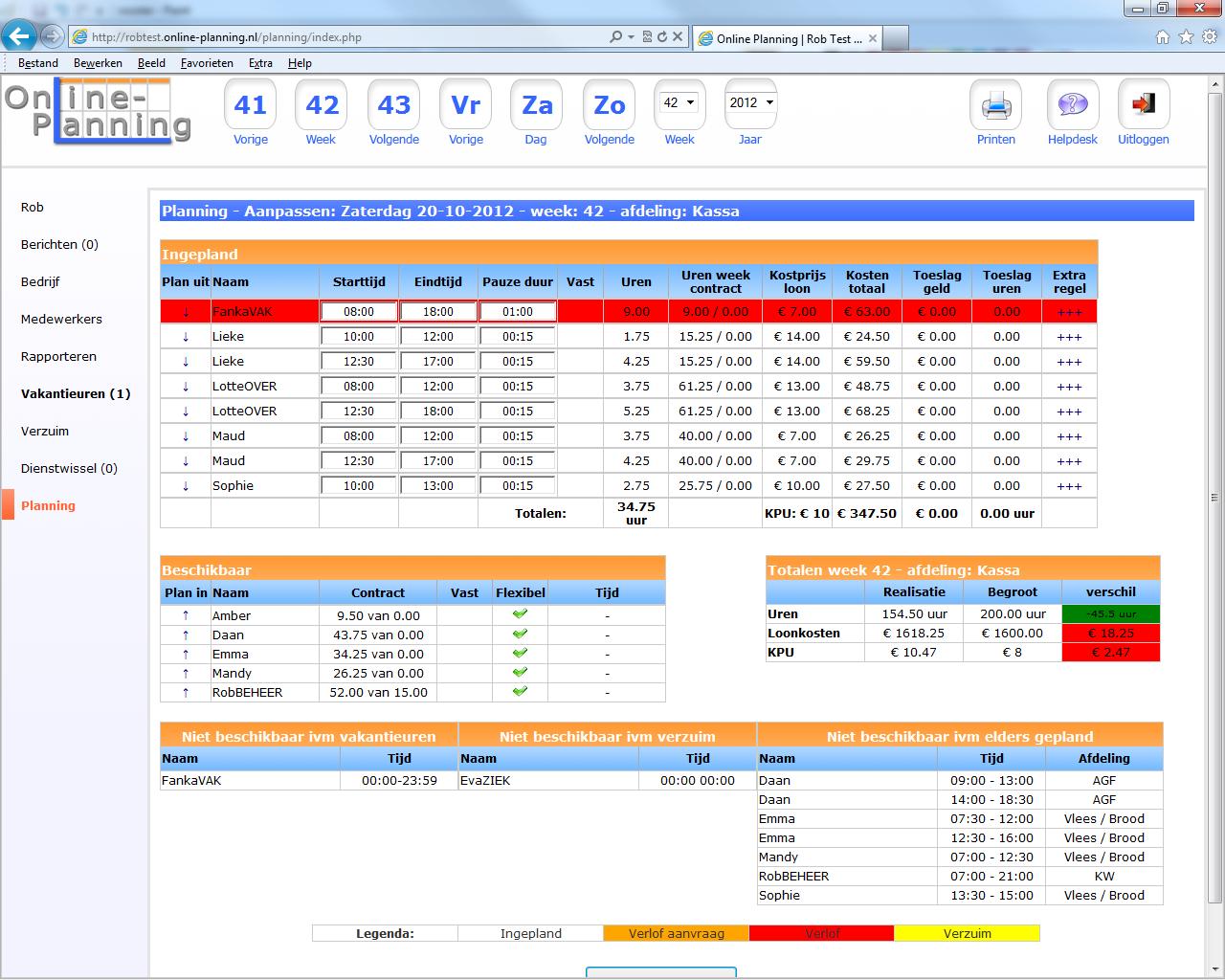 Rooster maken nooit zo eenvoudig geweest online planning for Planning maken